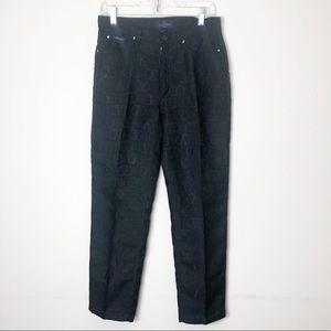 Valentino Jeans Vintage Black Logo Printed Pants